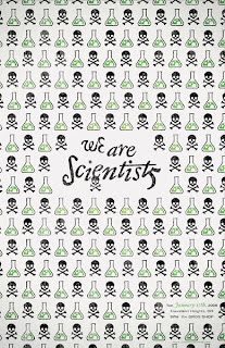 Poster covered in skulls & crossbones, as well as laboratory beakers