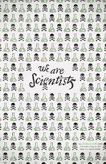 Poster covered in skulls & crossbones, as well as laboratory beakers