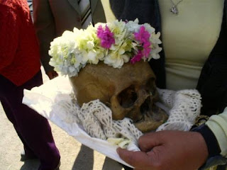 Decorated human skull in Bolivia