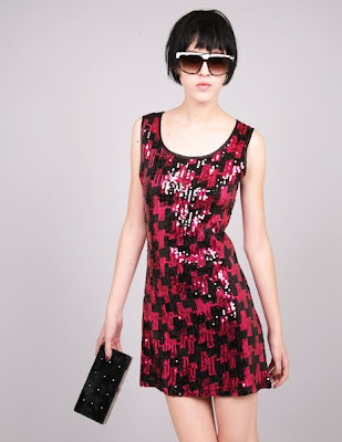 pixie market red houndstooth sequin dress hong kong fashion geek