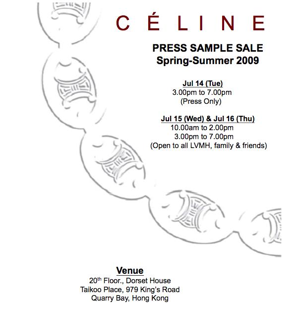HKFG Beta: Sample Sale: Celine