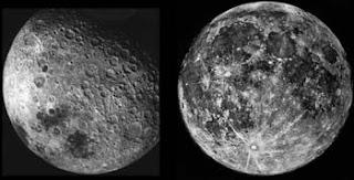الوجه الأمامي للقمر إلى اليمين والوجه الخلفي الذي لا يرى من الأرض إلى اليسار