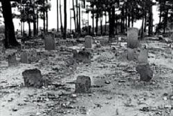 صورة تظهر قبور العبيد في مقبرة بلاك هوب حيث أقيم منزل عائلة هاني على جزء منها