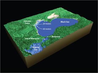 مقطع جيولوجي للبحر الأسود الذي كان بحيرة مياه عذبة والأسهم تدل على توسعه نتيجة الطوفان