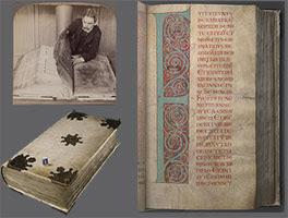 لاحظ حجم المخطوطة التي تعتبر أعجوبة العالم في العصور الوسطى
