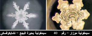 وللسيمفونيات أيضاً تأثير على شكل بلورات الماء