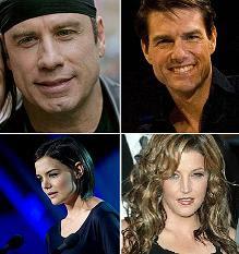 مشاهير من أتباع كنيسة السينتولوجيا ، توم كروز ، جون ترافولتا، ليزا ماري بريسلي وكايتي هولمز