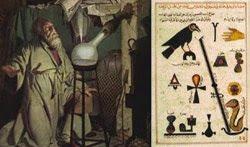 مخطوطة لابن حيان مع صورة تبين مزاولة الخيمياء في أوروبا في العصور الوسطى لتحويل المعادن إلى ذهب