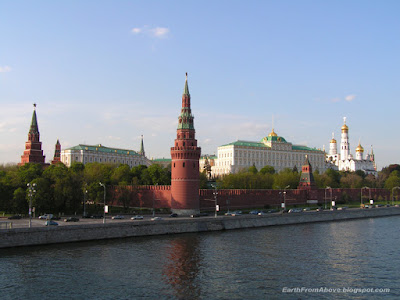View of the Moscow Kremlin from Bolshoy Kamenny Bridge, Moscow, Russia