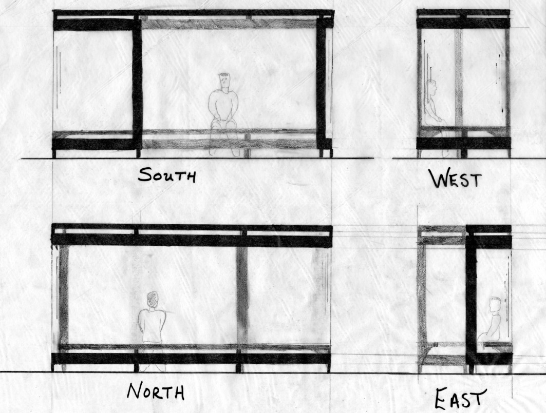 Plan Elevation Section Of Bus Stop : Chalfin drawings intro to design drawing bus stop
