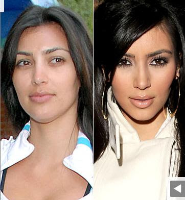 Hollywood Stars Kim Kardashian sans maquillage