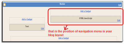 position of menu in blog layout