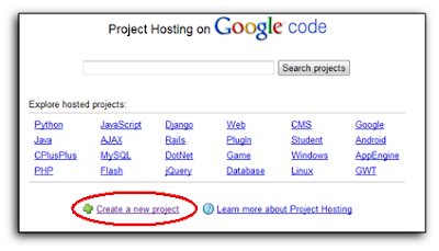 create a new project on google code