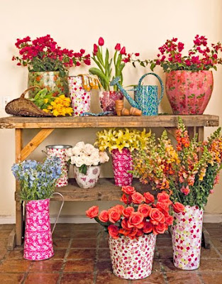 Floral Vases Buckets 4 0410 de the spring y, the pretty, and the shabby