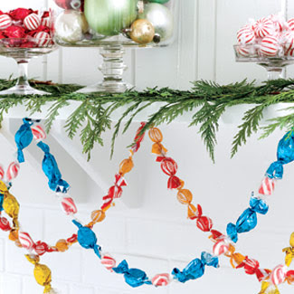 wrapped candy garland fb holiday mantel inspiration