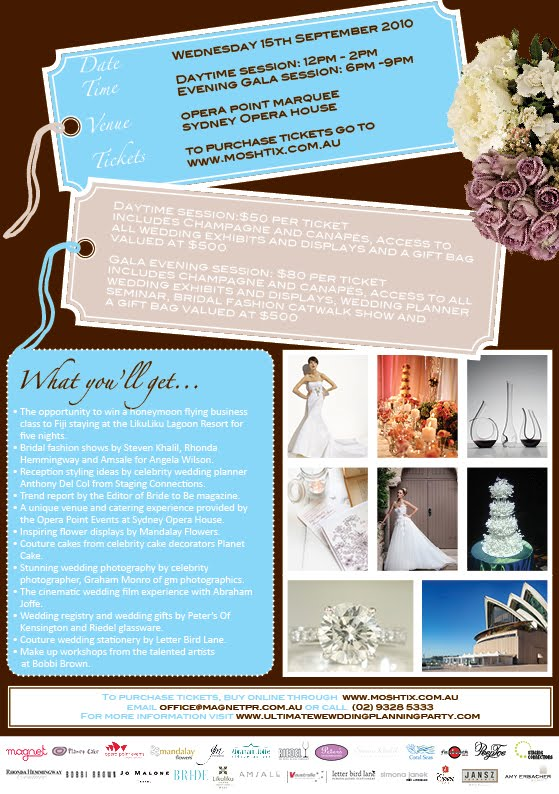 Tickets are now on sale for the 2010 Ultimate Wedding Planning Party on