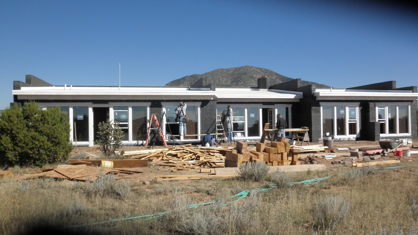 Building our adobe home stucco ready for Adobe home construction
