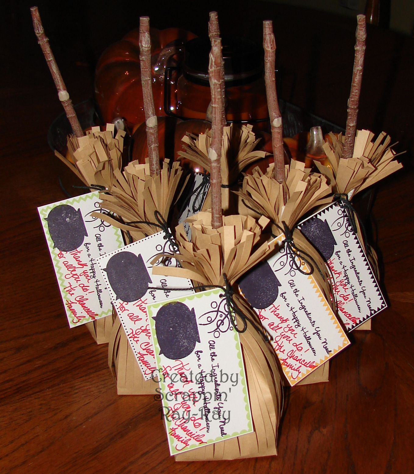 Bags for school teachers - I Used The Broom Treat Bag Set From Martha Stewart I Then Stamped A Sentiment From The My Favorite Things Stamp Set I Then Stuffed It With Plenty Of