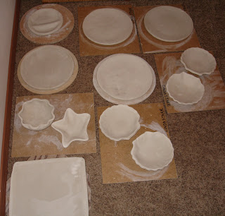 a few bowls and plates in drying