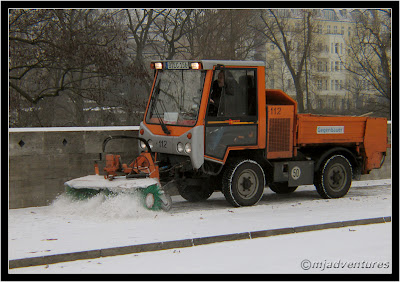 Sweeping snow in Berlin Germany