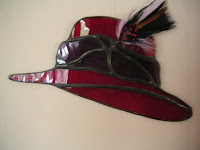 Red Hat Society feathered hat suncatcher