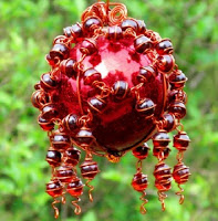 Copper and Red Glass gazing ball