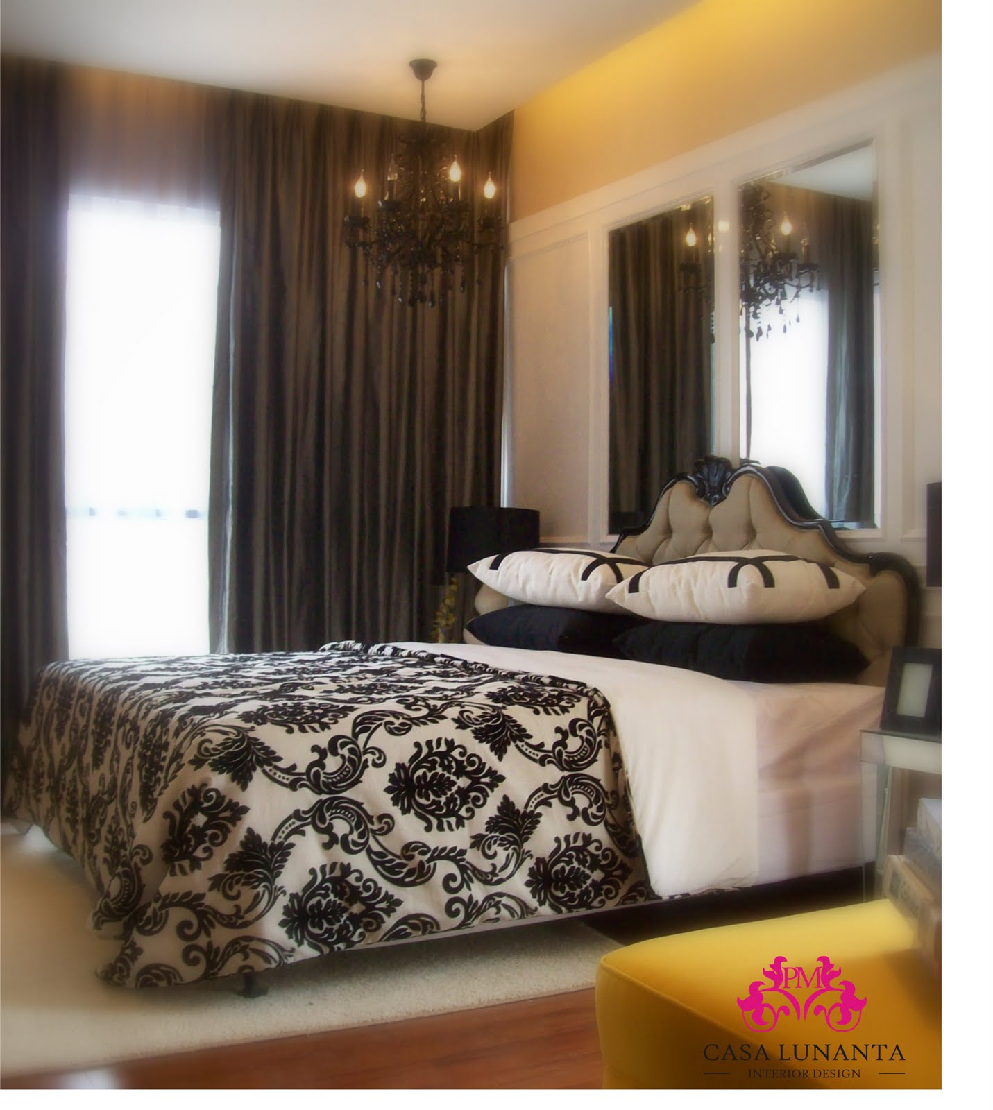 welcome to casa lunanta interior design transitional black white bedroom with damask accent. Black Bedroom Furniture Sets. Home Design Ideas