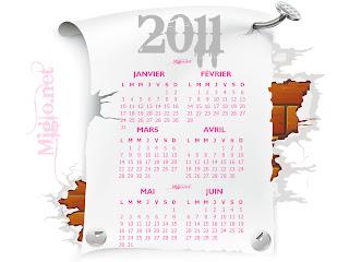 calendrier année 2011 tout les mois HD
