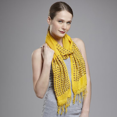 Raj+studded+scarf+yellow Raj Imports Scarf Sale at Ideeli   Get On This!