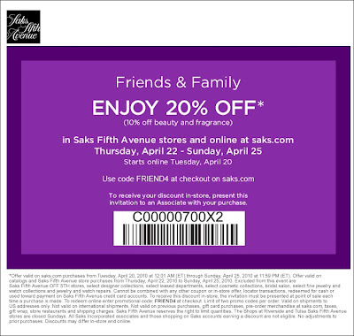 Saks Fifth Avenue Friends %26 Family Saks Fifth Avenue Friends &amp; Family: Take 20% Off