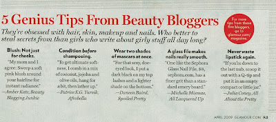 beauty blogger shout out in Glamour April 09 I Can Die Now: Spoiled Pretty Is In Glamour Magazine!!!