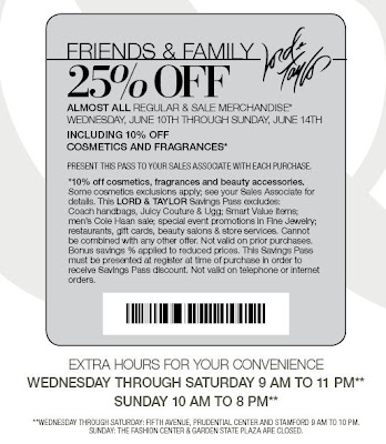 LORD AND TAYLOR COUPONS 2010