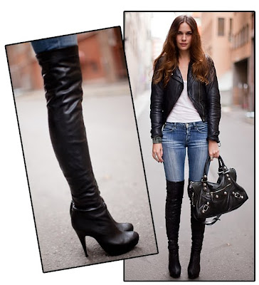 motorcycle+jacket+over+the+knee+boots Lilliana Vazquez Q&A: Looking Chic On The Cheap