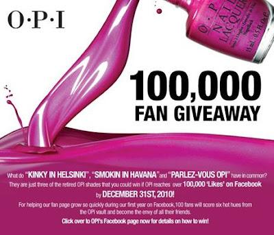opi+fan+giveaway OPI 100,000 Fan Giveaway
