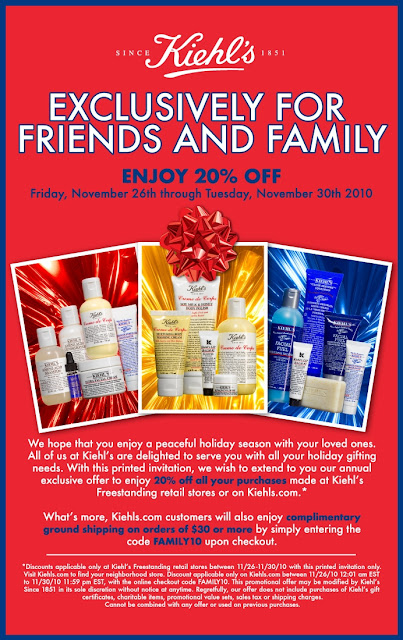 Kiehls+Friends+and+Family+2010 Kiehls Friends and Family 2010: Enjoy 20% Off