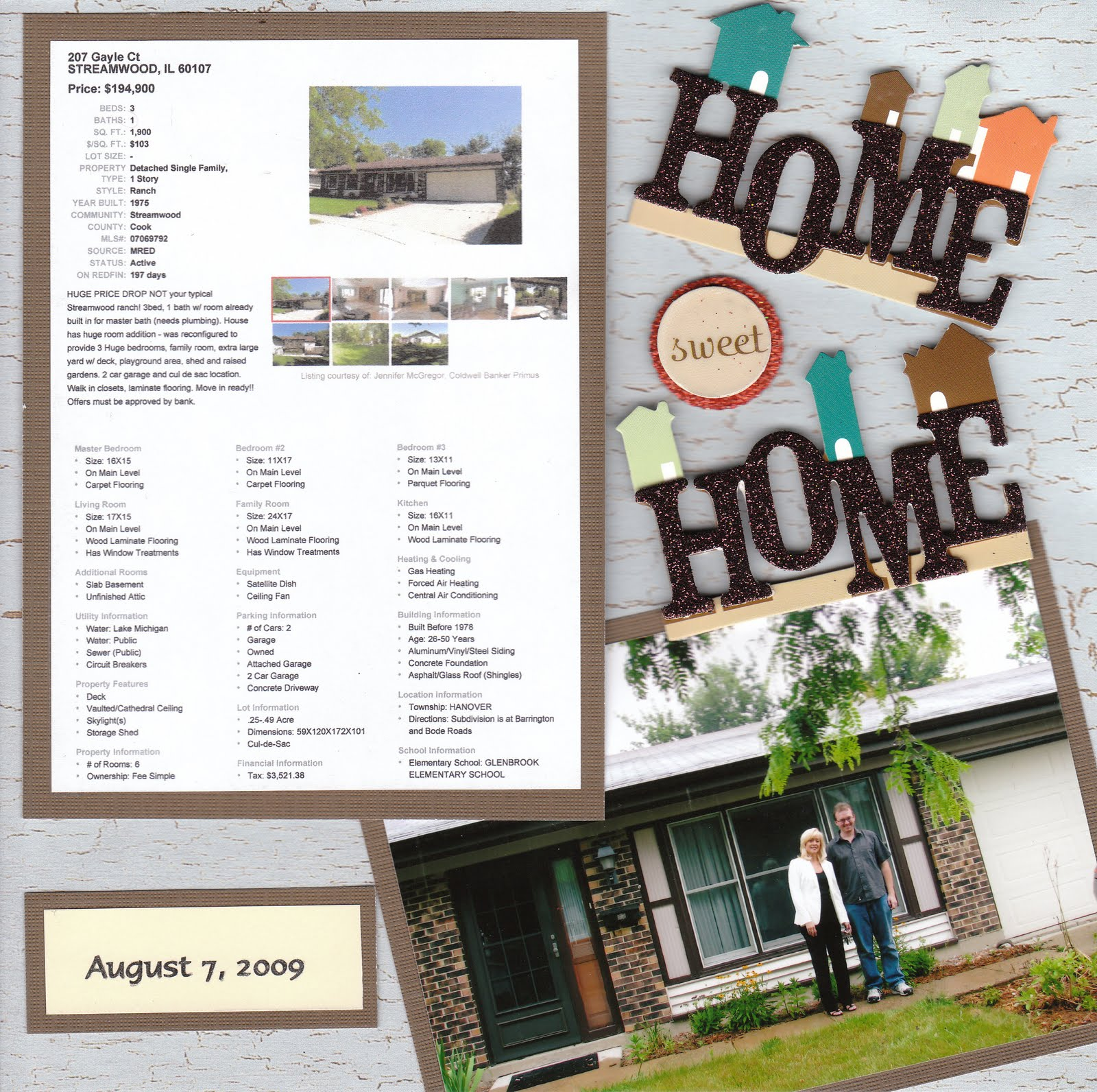 Creations by christie from house to home scrapbook for New home layouts