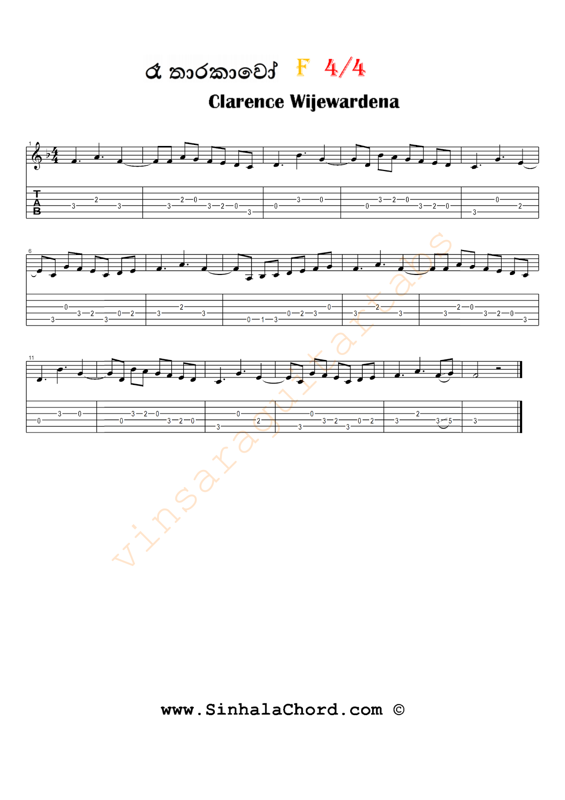 Sinhala Guitar Chords:Sinhala Songs Chords:Guitar Tabs:Sinhala Midi Tracks: Ra tharakawo ...