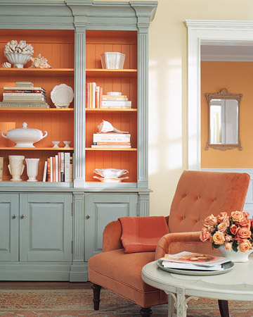 Love The Soft Coral Wall Spiced Up By Brighter Orange In Blue Gray