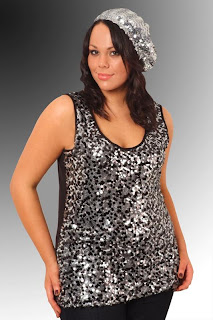 Black & Silver Sequined Front Sleeveless Top