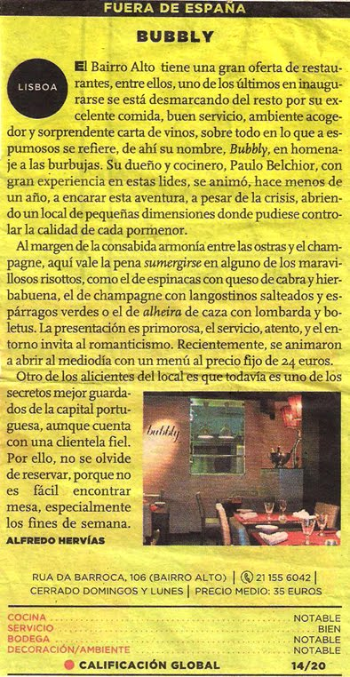 """O BUBBLY NO JORNAL """"EL MUNDO"""", POR ALFREDO HERVÍAS Y MENDIZÁBAL"""
