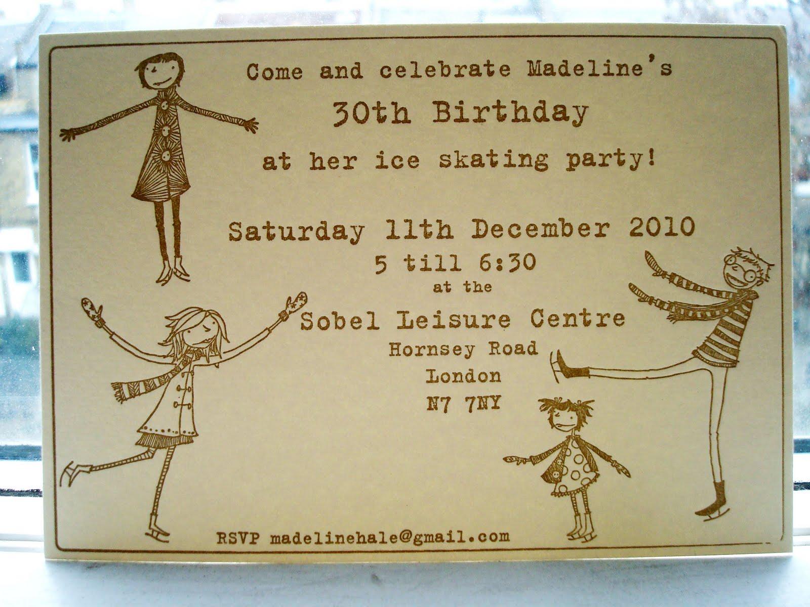 JoyNevada: Letterpress Ice skating Birthday Party Invitation