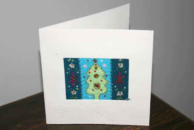 embroidered Xmas tree card