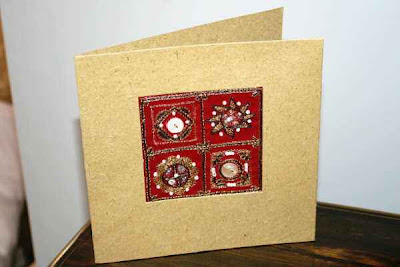 red square embroidered card