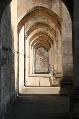 narrow passage Winchester Cathedral