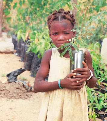 girl carrying sapling