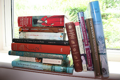 books on windowsill
