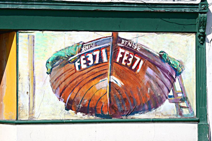 mural of small fishing boat
