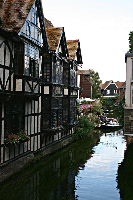 timbered house overlooking river