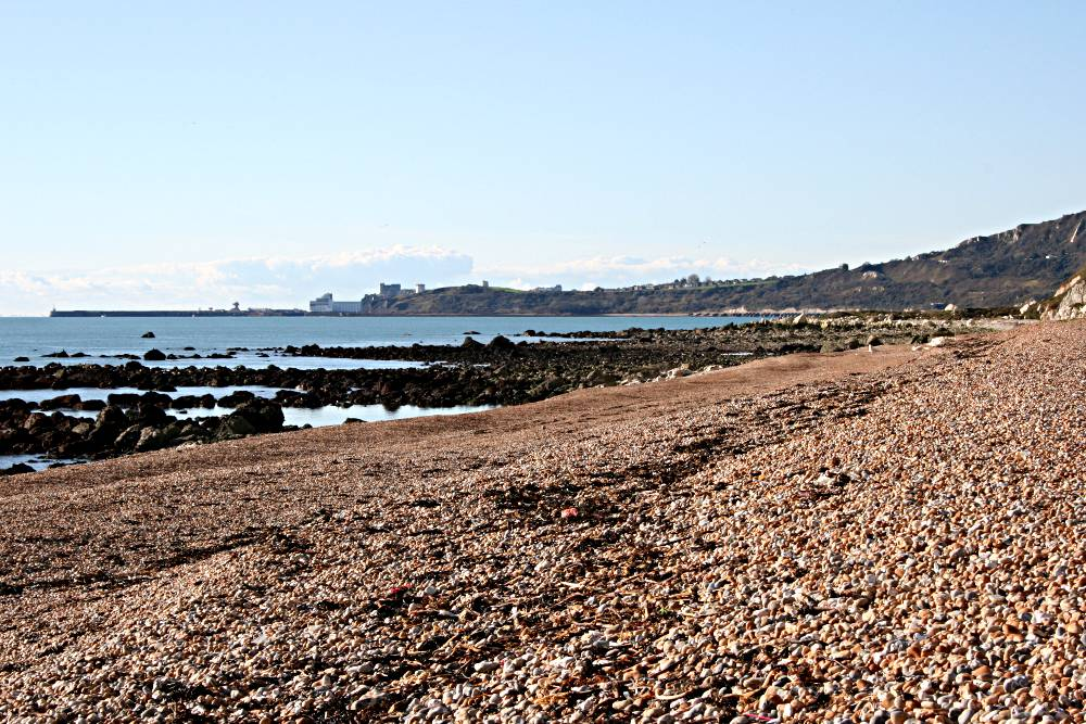 shingle beach with view of folkestone