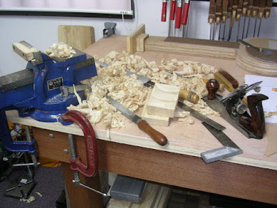 My workbench after the neck work